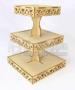 Base para cupcakes con diseño floral ideal para mesa de dulces boda