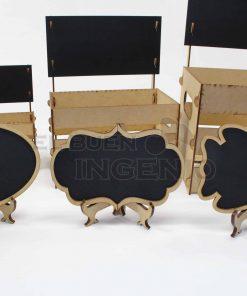 huacales con pizarrones mesa de postres